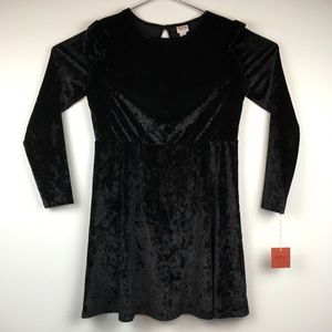 Black Ruffle Velour Fit & Flare Long Sleeve Dress